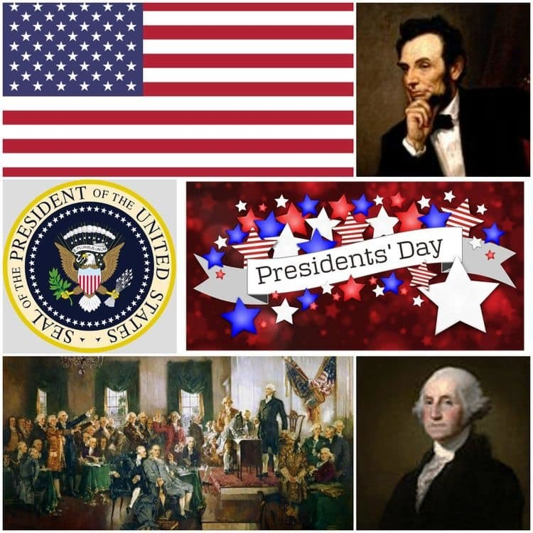 Collage of presidents day images, George Washington, Abraham Lincoln, Seal of the President of the United States of America